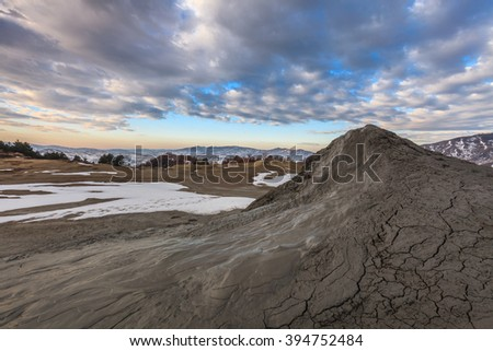 Mud volcanoes with spectacular clouds from Mud Volcanoes - Buzau, Romania