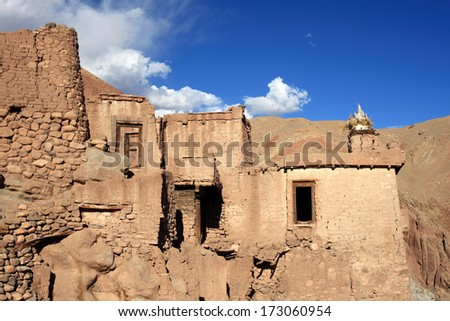 Mud wall buildings of the old Basgo Monastery in Ladakh. Basgo is enlisted as an endangered heritage site by World Monument Foundation