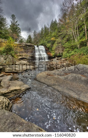 Muddy Falls waterfall in Autumn in the Appalachian mountains of Maryland - stock photo