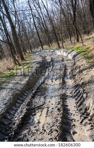 Muddy offroad track in the forest - stock photo