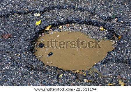 muddy rain water in pothole - stock photo