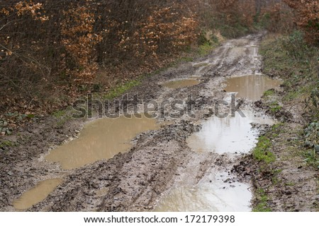 Muddy wet countryside road - stock photo
