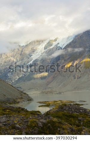 Mueller Glacier Lake in Mt. Cook National Park, New Zealand