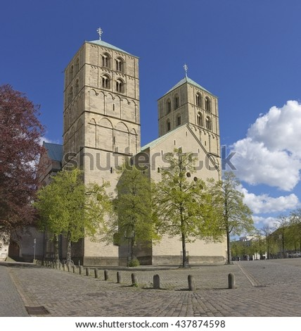 Muenster Cathedral or St.-Paulus-Dom at the the Domplatz in Munster, Germany - stock photo
