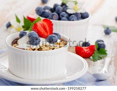 Muesli and yogurt with fresh berries. Selective focus