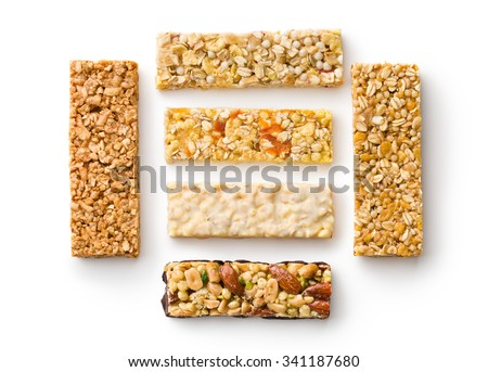 muesli bars on white background - stock photo