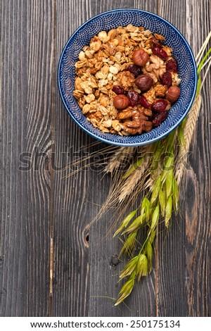 Muesli granola oatmeal.  Healthy breakfast. Top view. - stock photo