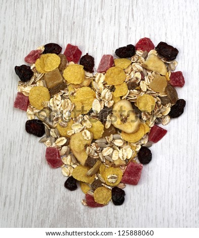 Muesli heart - stock photo