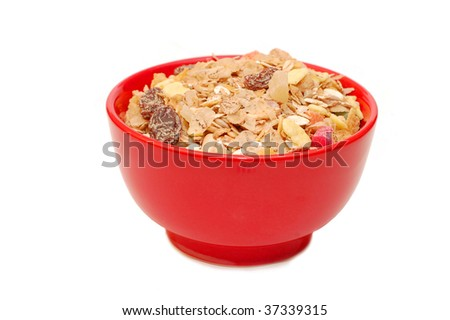 Muesli  In A  Cup With White Background - stock photo