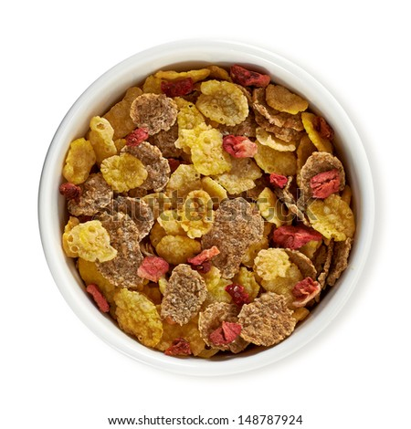 Muesli in bowl from top with clipping path - stock photo