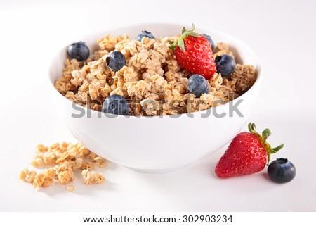 muesli with berry fruit - stock photo
