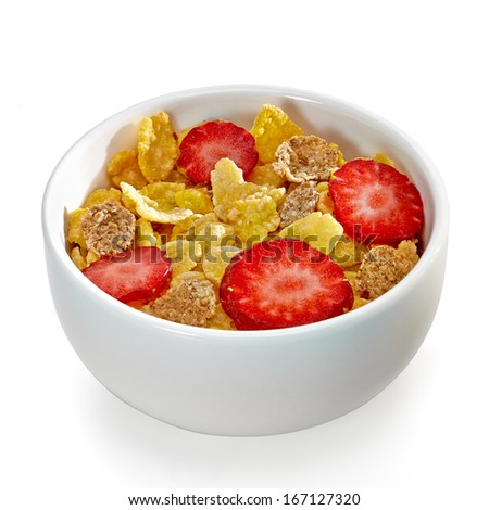 Muesli with strawberry slices in bowl including clipping path - stock photo