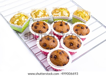 muffin cake breakfast on iron mesh grill