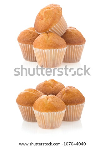 muffin cakes collage isolated on white background - stock photo