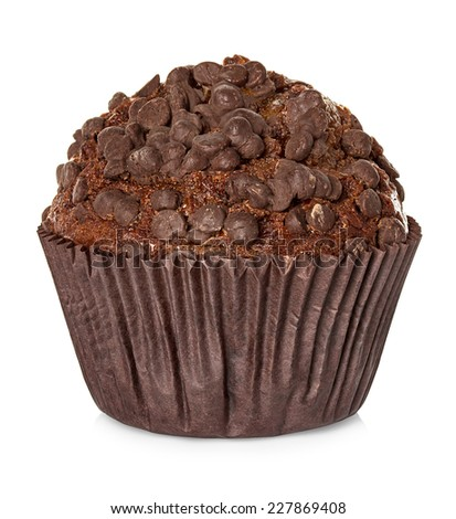 Muffin, chocolate cake isolated on white background - stock photo