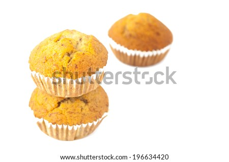 Muffin isolated on white background - stock photo