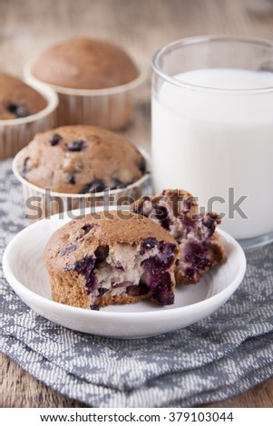 Muffins with blueberries and a glass of milk.
