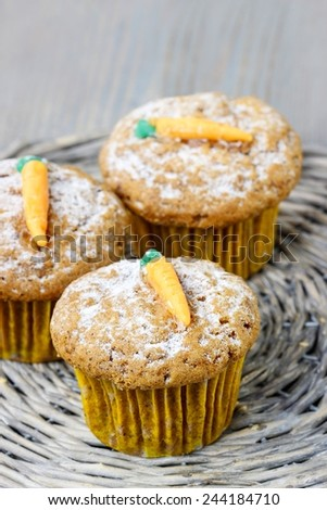 Muffins with carrot - stock photo