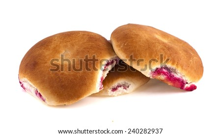 Muffins with cranberries isolated on a white background