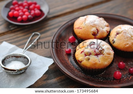 Muffins with cranberry on plate closeup on wooden background. Small shallow DOF - stock photo
