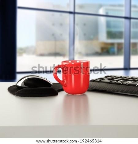 mug and window of city  - stock photo