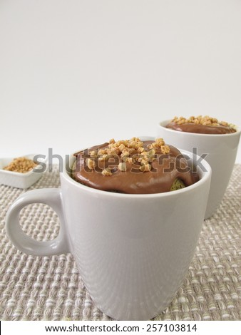 Mug Cake with chocolate icing and almond brittle - stock photo