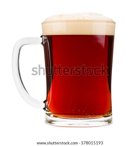 Mug filled with red beer, isolated on white.
