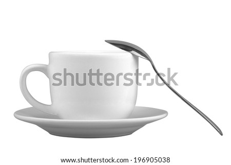Mug for tea or coffee on saucer with spoon isolated on white background - stock photo