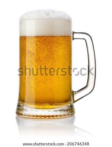 Mug fresh beer isolated. Clipping Path  - stock photo