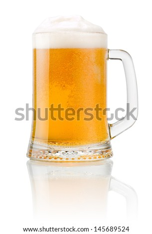 Mug fresh beer with cap of foam isolated on white background - stock photo