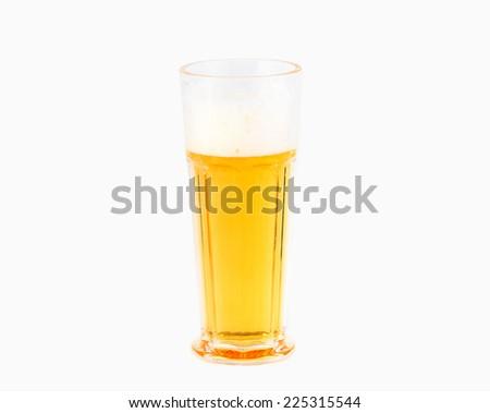 Mug fresh beer with of foam isolated on white background - stock photo