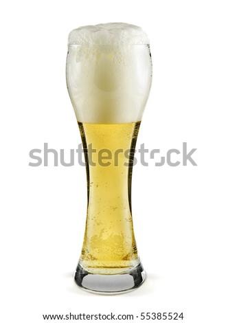 mug full of beer isolated on white - stock photo