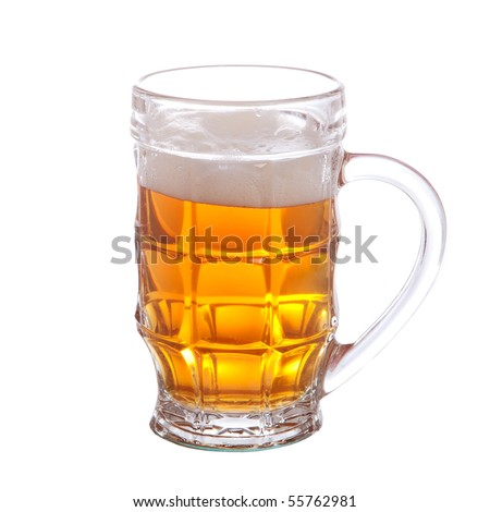 mug full of beer isolated on white background