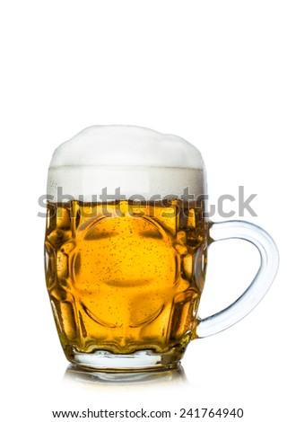Mug full of fresh beer isolated on white - stock photo