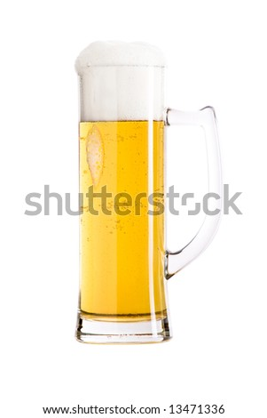Mug of beer against white background. Clipping path included.