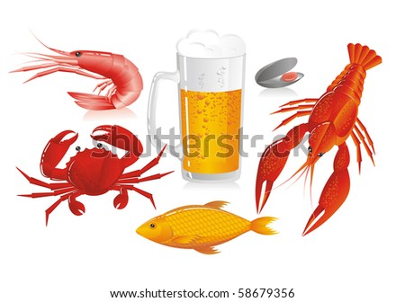 Mug of beer and snack to beer - seafood - stock photo