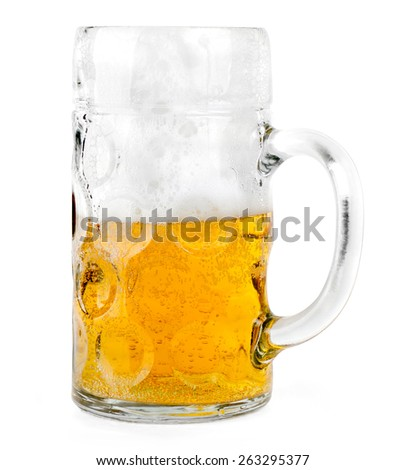 mug of beer isolated on white