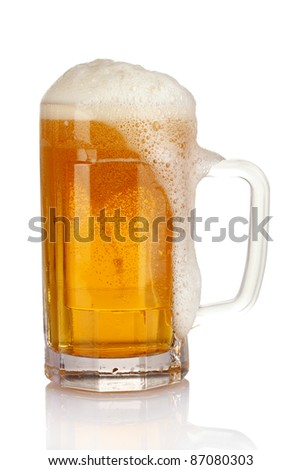 mug of beer isolated on white - stock photo