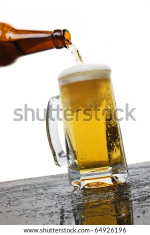 Mug of beer isolated on white background