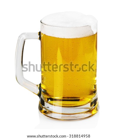 mug of beer with foam on a white background - stock photo
