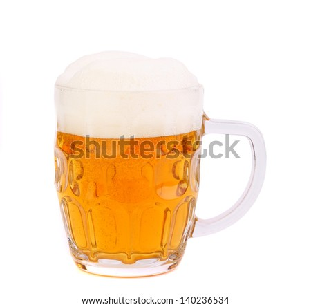 mug of beer with froth isolated on white - stock photo