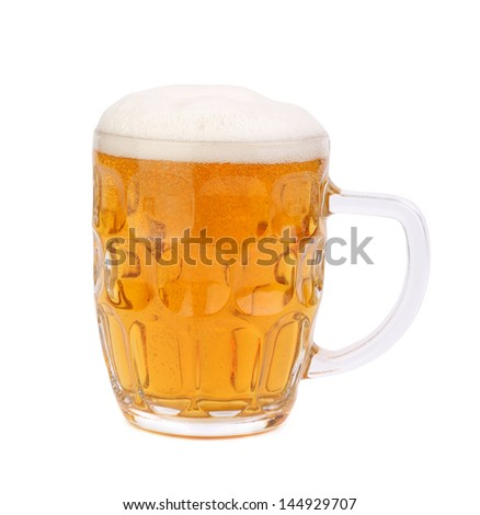 mug of beer with froth isolated on white