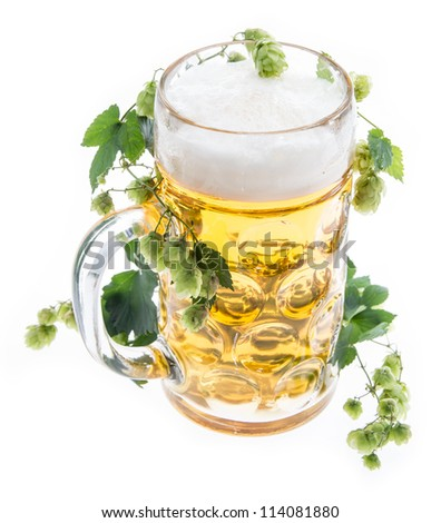 Mug of Beer with Hops isolated on white background
