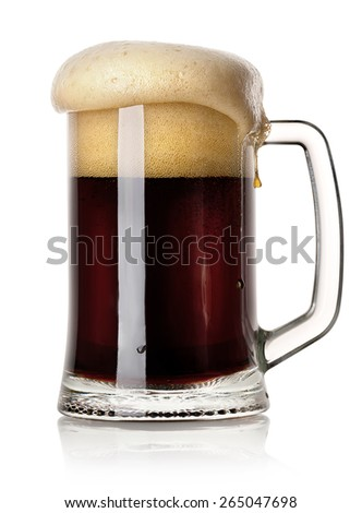 Mug of black beer isolated on a white background - stock photo
