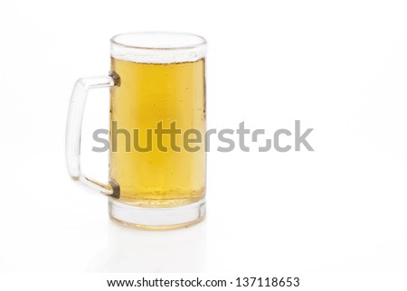 mug of cold beer isolated on white
