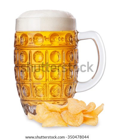 Mug of fresh beer with foam and pile of potato chips isolated on white background - stock photo