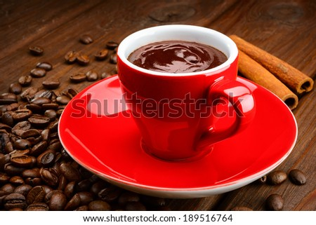 Mug of Hot Chocolate with Cinnamon - stock photo