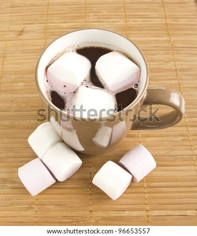 Mug of hot chocolate with marshmallows.