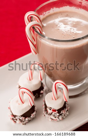 Mug of hot chocolate with marshmallows and candy canes Christmas treats