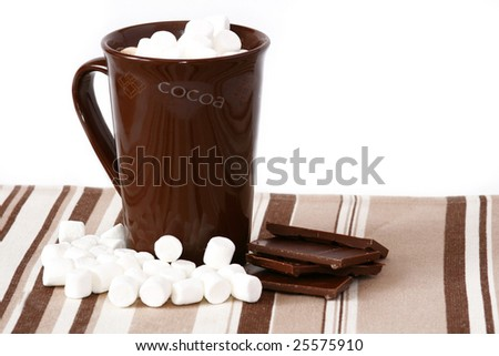 mug of hot cocoa with chocolate and marshmallows - stock photo
